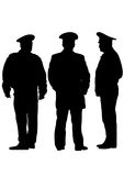 Police man six. People of special police force on white background Stock Photography