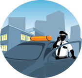 Police man talking by radio Royalty Free Stock Images