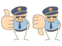 Police man thumbs up - down saying like and dislike. Cartoon police man thumbs up - down saying like and dislike Stock Image