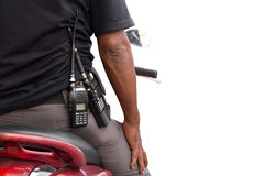 Police man with walkie radio and motorcycle isolated Royalty Free Stock Photo