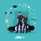 Police man and woman stay next to car. Concept vector illustration flat style. Officer in uniform. Royalty Free Stock Photo