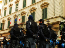 Police manifestation control force. Florence people manifest against politics and police force control them royalty free stock photo