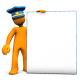 Police mannequin holding board Royalty Free Stock Image