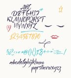 Police manuscrite de manuscrit Police de brosse Lettre minuscule composée Image libre de droits