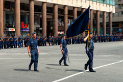 Police march in the parade in Montevideo, Uruguay Royalty Free Stock Photo