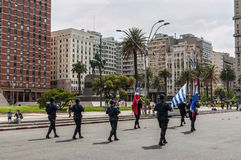 Police march in the parade in Montevideo, Uruguay Royalty Free Stock Photos