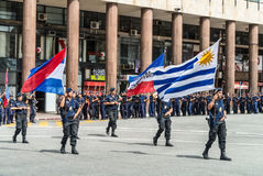 Police march in the parade in Montevideo Royalty Free Stock Image