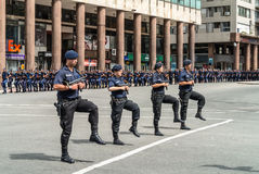 Police march in the parade in Montevideo Stock Images