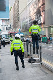 Police men in the streets of Hong Kong Royalty Free Stock Photo