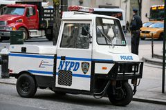 Police mini car. A parking control car in ny stock photo