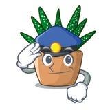 Police mini zebra cactus on cartoon pot royalty free illustration