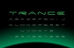 Police moderne Alphabet futuriste de vecteur Lettres larges illustration stock