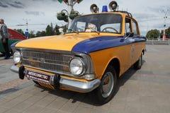 Police Moskvitch 412. Volga  at exibition of vintage cars. Summer. Belarus. Vitebsk. 2017 Stock Photo