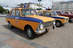 Police Moskvitch 412. Volga  at exibition of vintage cars. Summer. Belarus. Vitebsk. 2017 Stock Photography