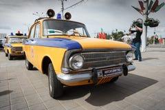 Police Moskvitch 412. Volga  at exibition of vintage cars. Summer. Belarus. Vitebsk. 2017 Royalty Free Stock Image