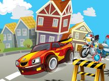 Police motor at duty - illustration for the children Stock Images