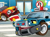 Police motor at duty - illustration for the children Royalty Free Stock Photography