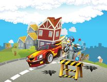 Police motor at duty - illustration for the children Stock Photography