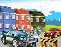 Police motor at duty - illustration for the children Royalty Free Stock Images