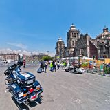 Police motorbike and people in Mexico City downtown Stock Images