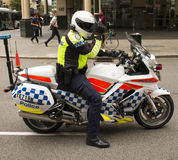 Police motorbike. Policeofficer on a motorbike in Perth, WA Royalty Free Stock Photos