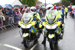 Police motorbikes stock photography
