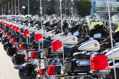 Police motorbikes aligned Stock Photo