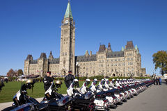 Police motorbikes aligned Royalty Free Stock Images