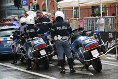 Police motorbikes Stock Images