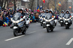 Police motorbikes. On a military parade of the Romanian Army for Romania's national Day, December 1, in Bucharest, Romania Stock Images
