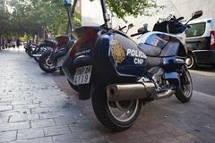 Police motorbikes on the street of Madrid, Spain. 2018-08-09 royalty free stock image