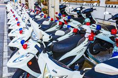 Police motorbikes in Taipei. TAIPEI, TAIWAN - APRIL 30: This is a row of police motorbikes which is a common form of transportation for the polce on April 30 Royalty Free Stock Image