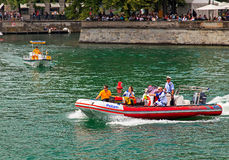 Police motorboat on the Limmat river during the Street Parade Stock Photo