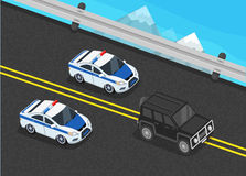 Police Motorcade Car Flat Design. Isometric police motorcade car flat design. 3D police guard, motorcade escort, policeman in car, 3d cortege police car police Stock Photos