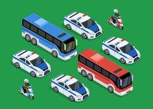 Police Motorcade Car Flat Design. Isometric police motorcade car flat design. 3D police guard, motorcade escort, policeman on motorcycle, 3d cortege police car Stock Photos