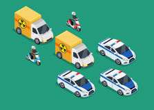 Police Motorcade Car Important Toxic Load. Isometric police motorcade car important toxic load. 3D Police guard, delivery escort, 3d policeman motorcycle stock illustration
