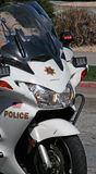 Police Motorcycle. Police trained in roving traffic stops for the Trial Run of the 2011 Redlands Classic Stock Photo