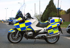 Police motorcycle. A police motorcycle at an incident. Road closure Stock Photo