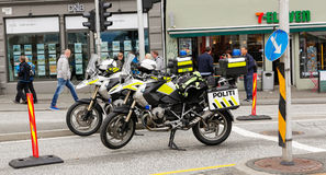 Police motorcycle. BERGEN / NORWAY June 25, 2016. Norway crown family visit to Bergen. Security Stock Photography