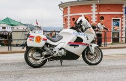 Police motorcycle. BERGEN / NORWAY June 25, 2016. Norway crown family visit to Bergen. Security Royalty Free Stock Photo