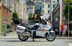 Police motorcycle. BERGEN / NORWAY - June 12, 2016: Security at Hansa Days Royalty Free Stock Photo