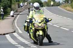 Police Motorcycle Escort for cycle race Stock Photo