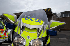 Police Motorcycle. Fairing and windshield of a police motorcycle, with lights on Royalty Free Stock Image