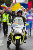 Police motorcycle in front of the Gay Pride Parade, Copenhagen 2 Royalty Free Stock Photos