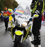 Police motorcycle in front of the Gay Pride Parade, Copenhagen 2 Stock Photography