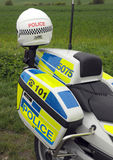 Police motorcycle and helmet Royalty Free Stock Image