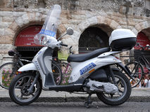 Police motorcycle  infront of Arena of Verona Royalty Free Stock Image