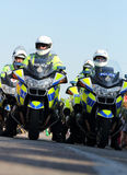Police Motorcycle Officers. United Kingdom Police Motor Cycle Officers patrolling the streets Royalty Free Stock Photos