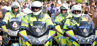 Police Motorcycle Officers. United Kingdom Police Motor Cycle Officers patrolling the streets Stock Photography