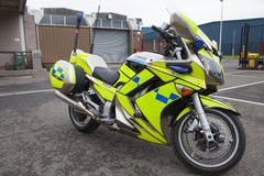 Police Motorcycle. Parked in a car park Royalty Free Stock Photos